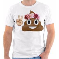 T Shirt Camisa Camiseta Emoji Emoticon Coco Paz E Amor Flor