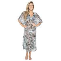 La Leela Gasa Resumen Espejo Kimono Largo Kaftan Verde