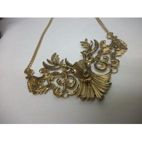 Bisutería Fina: Collar Venado Largo Dorado Elegante Brillant