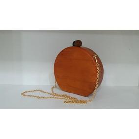 5b037444f4 Bolsa Clutch Redonda Madeira Carteira Festa (16248)