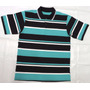 Camisa Polo Listrada Malha Piquet Algodão Com Elastano