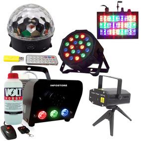 Kit Completo Para Festa Iluminação Máquina Projetor Strobos
