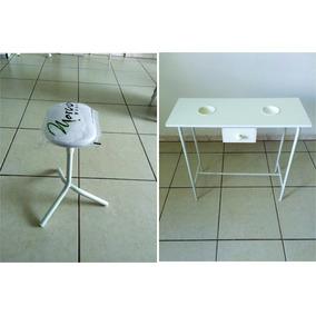 Kit Mani Branco:mesa Desmontável+apoio Para Pés+cirandinha P