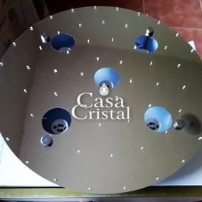 Base Para Lustre De Cristal Redondo 38 Cm Soquete Embutido