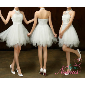 Vestido Noiva Debutante Curto Frente Única Off White