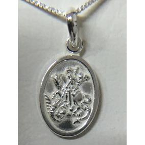 Medalha De Sao Jorge + Cordao Prata 925 Ml