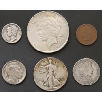 Monedas Eeuu 1901 Indio Bufalo Plata Cobre Antigua Lote K2n