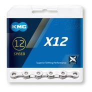 Corrente Bike Kmc X12 126 Elos 12v Prata Com Missing Link