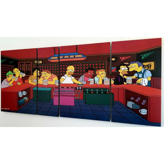 Cuadro Los Simpsons Bar De Moe Poliptico Grande La Ultima Cena