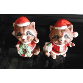 Set 2 Figuras Ceramica Mapache Raccoon Navidad Christmas