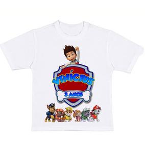 Camiseta Infantil Aniversário - Patrulha Canina