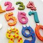 20 Números De Madera Pintados Con Iman P/heladera 5cm Alto
