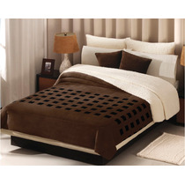 Cobertor Borrega Cuadros Chocolate King Size