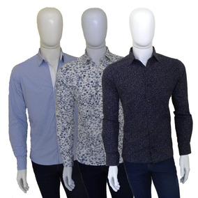 Kit Com 3 Camisas Sociais Masculinas Estampadas Slim Fit