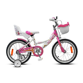 Bicicleta Rodado 16 Aurora Princesa Rosa Con Blanco