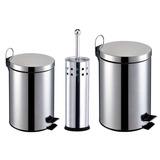 Kit Banheiro 3 Peças: Lixeira De 3 E 5l + Escova Sanitária