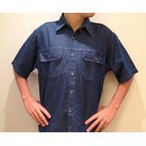 Camisa Masculina Jeans Manga Curta Com 2 Bolsos Big Até Nº7
