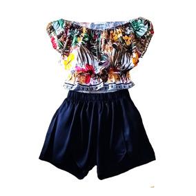 Blusa Cropped Ciganinha +short Cintura Alta Viscose Envio Já