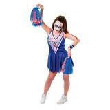 Zombie Cheerleader Traje De Disfraz Femenino Blue - One Siz