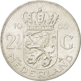 Holanda Moneda Plata 2 1/2 Gulden 1966 Sc Km#185 En Capsula
