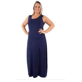 Vestido Regata Longo Plus Size Com Fendas Ref.15204