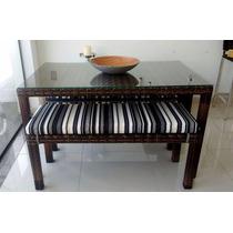 Conjunto Mesa E Cadeiras Fibra Sintética Design Lindo