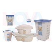 Kit P/o Bebe Lixeira,saboneteira,cesto,balde,bacia Urso Azul