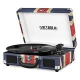 Tocadiscos Maleta Blueetooth Victrola Vintage De 3