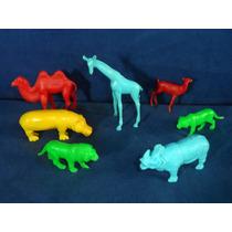 Lote 7 Animais De Zoológico Antigos De Plástico Com Defeitos