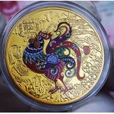 Moeda Do Zodíaco Chinês Ano Do Galo Dourada 2013 Nova Na Cx