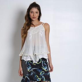 Blusa Em Seda Com Renda Off White Tamanho Pp Promoção