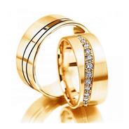 Alianças Ouro 18k Retas Frisos 10mm 21gr Com 13 Diamantes