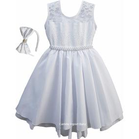 Vestido Infantil Daminha Batizado Formatura Ano Novo 4 A 12