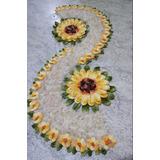 Crochê: Lindo Trilho De Mesa Flor Dupla Amarela Promoção