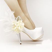 Sapato De Salto 12 Cm Stiletto Plataforma De Noiva De Cetim