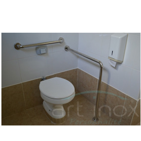Barra Apoio L Cavalete Inox Para Banheiro 80x90 Cm