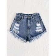 Shorts Denim Sin Costura Azul Medio