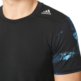 Camiseta adidas Original Tf Base Fitted Azul preta Techfit b535eea402f86