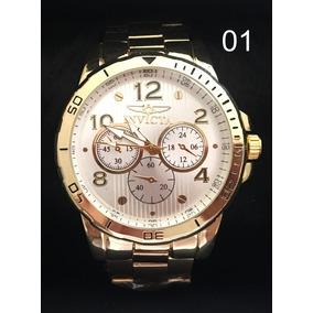 Relógio Masculino Invicta E Bvlgari Prata Dourado Cód.146