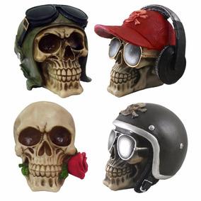 Crânio Caveira Kit C/ 4 Peças Esqueleto Decoração Em Resina