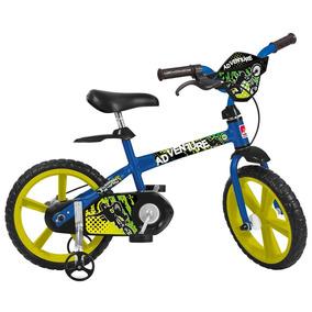 Bicicleta Aro 14 Bandeirante Adventure - Azul/amarelo
