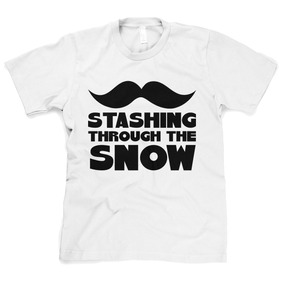 Remera Staching Through The Snow Funny Mustache Holiday Ch