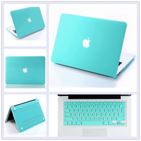 Funda Dura Mate Turquesa + Teclado De Piel Para Macbook Air