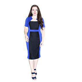 Vestido Tubinho Bicolor Manga Longa E Curta 1011