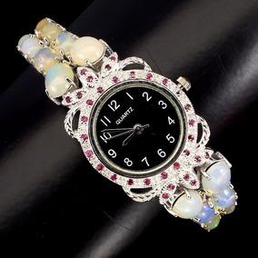 Relógio Prata 925 Com Pedras Naturais Preciosas Opala Rubi