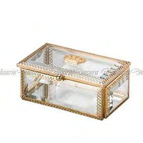 Porta Joia Retangular C/ Armação De Zamac Dourado Crown