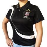 Camisa Polo Do Corinthians Baby Look Feminina Oficial