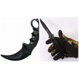 Kit Canivete Butterfly Faca Borboleta+karambit Black+brinde