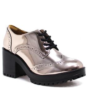 Sapato Feminino Oxford Via Marte Verniz Salto Bloco | Zariff