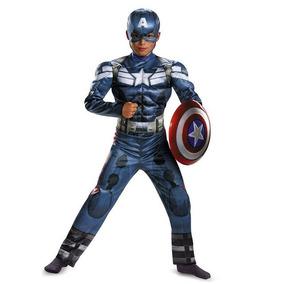 Fantasia Luxo Infantil Capitão América Vingadores + Escudo